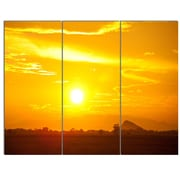 DesignArt 'Bright Yellow Sky at Sri Lanka Sunset' 3 Piece Photographic Print on Canvas Set