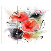 DesignArt 'Red Black Abstract Floral Design' 3 Piece Painting Print on Canvas Set