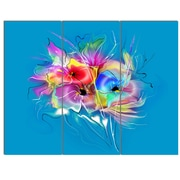 DesignArt 'Summer Colorful Flowers on Blue' 3 Piece Graphic Art on Canvas Set