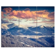 DesignArt 'Winter Alpine Sunset Over Hills' 3 Piece Photographic Print on Canvas Set