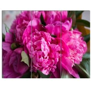 DesignArt 'Pink Peonies on Wooden Background' 3 Piece Photographic Print on Canvas Set