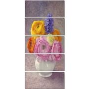 DesignArt 'Multicolor Ranunculus Flowers in Vase' 5 Piece Graphic Art on Canvas Set