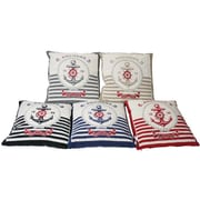 Essential Decor & Beyond Striped Anchors Throw Pillow; Red
