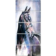 DesignArt 'Black Horse w/ Bridle' 5 Piece Painting Print on Canvas Set