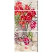 DesignArt 'Tulip Flowers and Easter Eggs' 5 Piece Photographic Print on Canvas Set
