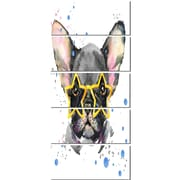 DesignArt 'Black French Bulldog w/ Stars' 5 Piece Painting Print on Canvas Set