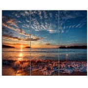 DesignArt 'Tranquil Beach and Whimsical Clouds' 3 Piece Photographic Print on Canvas Set