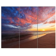 DesignArt 'Colored Clouds in Beach at Sunset' 3 Piece Photographic Print on Canvas Set