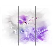 DesignArt 'Abstract Painted Blue Floral Design' 3 Piece Graphic Art on Canvas Set