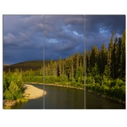 DesignArt 'Lake on Alaska Under Clouds' 3 Piece Photographic Print on Canvas Set