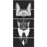 DesignArt 'French Bulldog Fashion Portrait' 5 Piece Graphic Art on Canvas Set