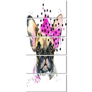 DesignArt 'Fashionable French Bulldog' 5 Piece Graphic Art on Canvas Set