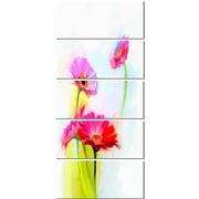 DesignArt 'Still Life Cute Red Gerbera Flowers' 5 Piece Painting Print on Canvas Set