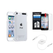 Insten Crystal Hard Clear Case+Clear Film+White Audio Cable For Apple iPod Touch 6 6G 6th / 5 5G 5th Gen