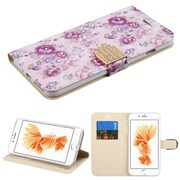 Insten Flowers Insten Luxury Wallet Leather Stand Case Cover with Card Slots For iPhone 7 Plus - Purple