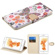 Insten Butterfly Wonderland Insten Luxury Wallet Leather Stand Case Cover with Card Slots For iPhone 7 Plus - Colorful