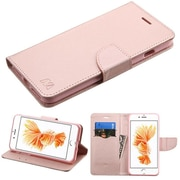Insten Book-Style Leather Fabric Case w/stand/card holder For Apple iPhone 7 Plus - Rose Gold