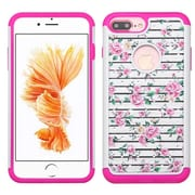 Insten Fresh Roses Hard Hybrid Silicone Cover Case w/Diamond For Apple iPhone 7 Plus - Pink/White