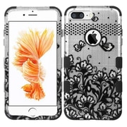 Insten Tuff Lace Flowers Hard Hybrid Silicone Cover Case For Apple iPhone 7 Plus - Black