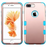 Insten Tuff 3-Piece Style Shockproof SoFT TPU Hard Hybrid Cover Case For iPhone 7 Plus - Rose Gold/Blue