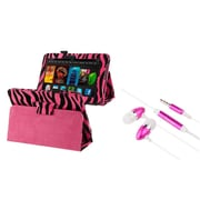 "Insten Hot Pink Zebra Leather Case+Pink Headsets for Kindle Fire HD 7"" (designed for 2012 ver ONLY)(w/ Auto Sleep/Wake)"