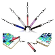Insten 10-Piece Universal Colorful Crystal Glitter Sparking Mini Stort Stylus Touch Screen 3.5mm Jack Dust Cap Pen
