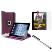 Insten Purple 360 Leather Case+Anti-Glare Film+Stylus for iPad Retina 2 2nd 3 3rd 4 4th (Supports Auto Sleep/Wake)