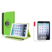 Insten Green Leather Case+2 Packs Anti-Glare Protector For iPad Mini 2 3 (Supports Auto Sleep/Wake)