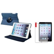 Insten Navy Blue Leather Case+Matte Protector ForiPad Mini 1/2/3 (Supports Auto Sleep/Wake)