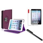 Insten Purple Leather Case+Film+Black Stylus For iPad Mini 1 2 3 (w/ Auto Sleep/Wake)