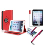 Insten Retina Display 360 Degree Rotating PU Leather Case Cover w Swivel Stand For iPad Mini 3 / 2 / 1 - Red