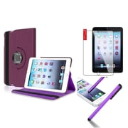 Insten Retina Display 360 Degree Rotating PU Leather Case Cover w Swivel Stand For iPad Mini 3 / 2 / 1 - Purple