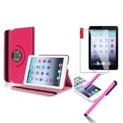 Insten Retina Display 360 Degree Rotating PU Leather Case Cover w Swivel Stand For iPad Mini 3 / 2 / 1 - Hot Pink