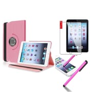 Insten Retina Display 360 Degree Rotating PU Leather Case Cover w Swivel Stand For iPad Mini 3 / 2 / 1 - Light Pink
