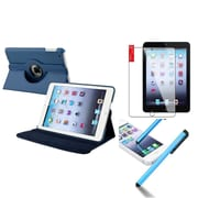 Insten Retina Display 360 Degree Rotating PU Leather Case Cover w Swivel Stand For iPad Mini 3 / 2 / 1 - Navy Blue