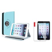 Insten Light Blue Case Rotating Leather Case Stand+2pcs Protector for Apple iPad Mini 1 2 3