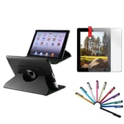 Insten Black 360 Rotating PU Leather Case Cover Swivel Stand For Apple iPad 4 4th 3 3rd 2