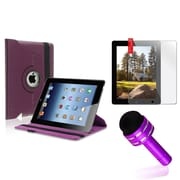 Insten Purple 360 Rotating PU Leather Case Cover Stand For Apple iPad 4 4th 4G Gen 3 3rd 2