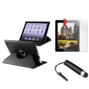 Insten 360 Black Rotating Magnetic PU Leather Case Cover Stand For iPad 4 4th 4G 3 3rd 2