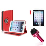 Insten Red 360 Degree Rotating PU Folio Leather Case Cover w Swivel Stand for iPad Mini 1/2/3
