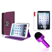 Insten Purple Rotating PU Folio Leather Case Cover w Swivel Stand for iPad Mini 1/2/3