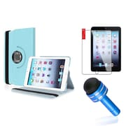 Insten Light Blue Rotating PU Folio Leather Case Cover w Swivel Stand for iPad Mini 1/2/3