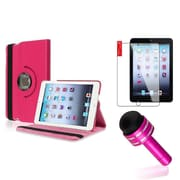 Insten Hot Pink Rotating PU Folio Leather Case Cover w Swivel Stand for iPad Mini 1/2/3