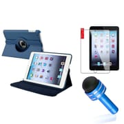 Insten Navy Blue for iPad Mini 1/2/3 Rotating PU Folio Leather Case Cover w Swivel Stand