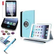 Insten360 Degree Rotating Leather Case Stand for Apple iPad Mini 3 2 1+Sticker Light Blue