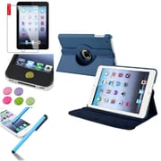 Insten Navy Blue 360 Degree Rotating Leather Case Cover Stand for Apple iPad Mini 3 2 1+Sticker