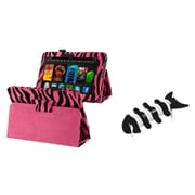 Insten Pink Zebra PU Leather Case For Kindle Fire HD 7+Fishbone Wrap (designed for 2012 ver ONLY)(w/ Auto Sleep/Wake)