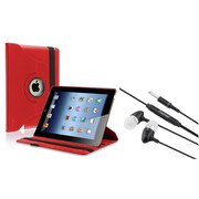 Insten Red 360 Rotating Leather Case For Apple iPad 4 4G Gen 3 3rd 2 2nd + Headset