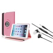 Insten Light Pink 360 Degree Leather Case Stand for iPad Mini 1/2/3 + 3.5mm Headset