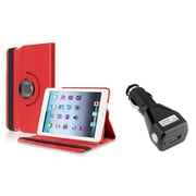 Insten Red 360 Degree Leather Case Stand for iPad Mini 3 1 2+Car Charger